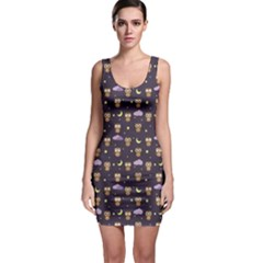 Blue Owls At Night With Stars Clouds And Moon Pattern Bodycon Dress by CoolDesigns