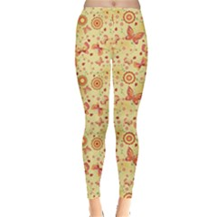 Yellow Floral With Butterfly Women s Leggings by CoolDesigns