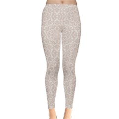 Gray Damask Pattern Fine Traditional Ornament With Women s Leggings