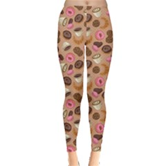 Brown Yummy Colorful Chocolate Cookies Donuts And Cups Of Coffee Seamless Women s Leggings by CoolDesigns