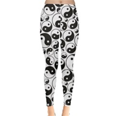 Black Yin And Yang Symbols Black And White Pattern Women s Leggings by CoolDesigns