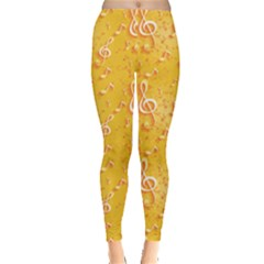 Yellow Yellow Pattern With Music Notes And Key Women s Leggings by CoolDesigns