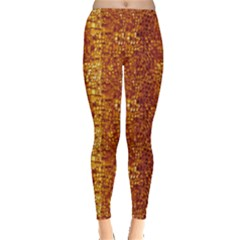 Brown Leather Animal Snake Reptile Crocodile Pattern Women s Leggings