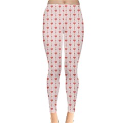 Pink Pattern With Hearts Retro Style Women s Leggings by CoolDesigns