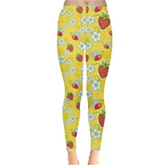 Yellow Strawberries With Red Bee And White Flowers Pattern Women s Leggings