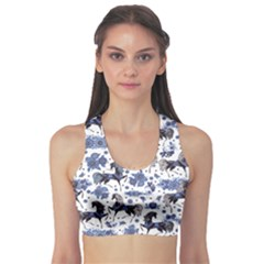 Blue Fashion With Stylized Flowers Women s Sport Bra by CoolDesigns