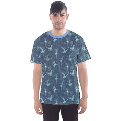 Blue Fancy Snowflake Ballet Dancers Men s Sport Mesh Tee by CoolDesigns