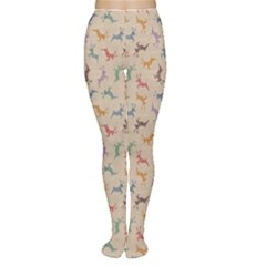 Brown Retro Christmas Pattern With Colorful Deers On A Vintage Women s Tights by CoolDesigns