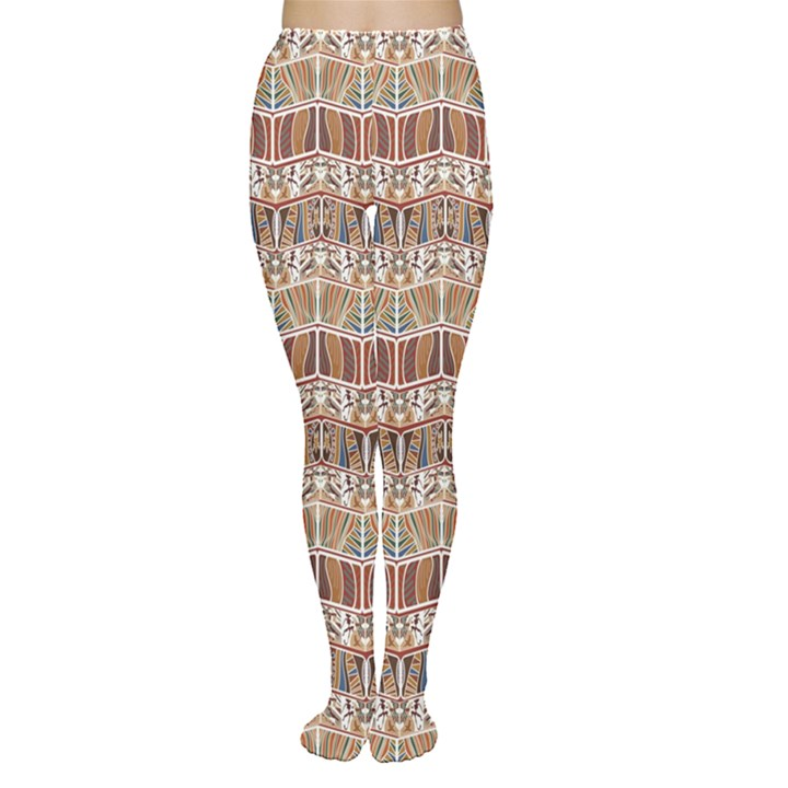 Brown Tribal Pattern in the African Style Women s Tights