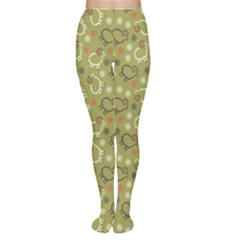 Green Pattern Sheep And Snowflakes Christmas Winter Women s Tights by CoolDesigns