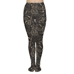 Black Halloween Pattern With Smiling Ghost Pumpkin Witch Women s Tights by CoolDesigns