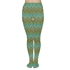 Green Multicolor Green Horizontal Fashion Chevron Pattern Women s Tights by CoolDesigns