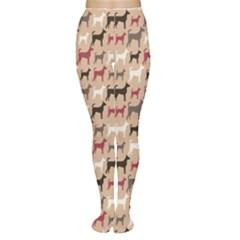 Brown Animal Pattern Of Dog Silhouettes Endless Women s Tights by CoolDesigns