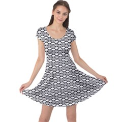Gray Skeleton Art Cap Sleeve Dress