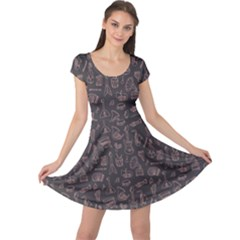 Black Music Pattern Cap Sleeve Dress by CoolDesigns