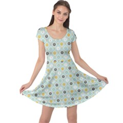 Green Floral Patern With Scandinavian Flowers Pattern Based Cap Sleeve Dress by CoolDesigns
