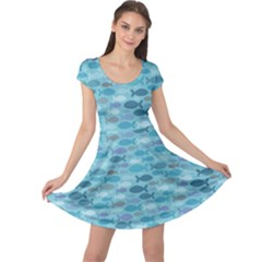 Blue Fish Silhouettes Cap Sleeve Dress by CoolDesigns