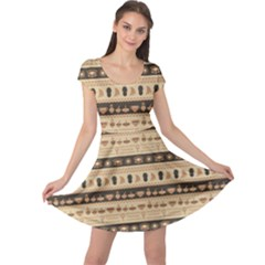 Brown African Tribal Pattern Ethnic Ornament With Different Cap Sleeve Dress by CoolDesigns