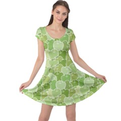 Green Ripe Green Apples Pattern Cap Sleeve Dress by CoolDesigns