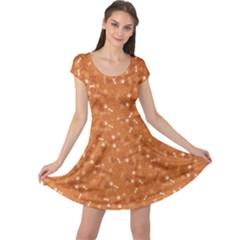 Orange Pattern With Dog Paw Print Bone And Hearts Orange Cap Sleeve Dress