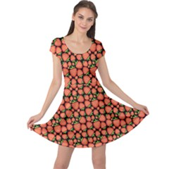 Brown Pattern With Strawberries Cap Sleeve Dress