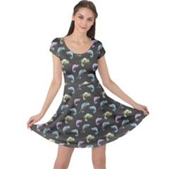 Black Beutiful Watercolor Pattern With Reptiles Chameleon Cap Sleeve Dress by CoolDesigns