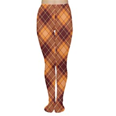 Brown Orange And Brown Cross Pattern Women s Tights by CoolDesigns