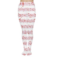 Pink Music Heart Note Sound Love With Shadow Valentine Women s Tights