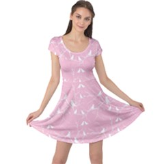Pink Bird Love Gently  Cap Sleeve Dress