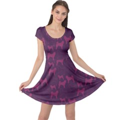 Purple Dog Pattern Cap Sleeve Dress by CoolDesigns