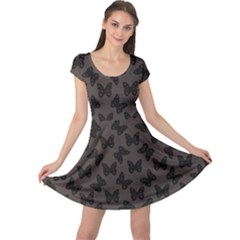 Black Butterfly Web Flat Design Gray Pattern Cap Sleeve Dress