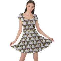 Green Funny Simple Whales Pattern Doodle Pattern Cap Sleeve Dress by CoolDesigns
