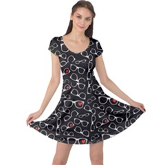 Black Pattern For Fabric Design Packaging Cap Sleeve Dress by CoolDesigns