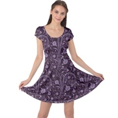 Purple Floral Purple Flower Wallpaper Pattern Cap Sleeve Dress