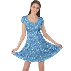 Blue Beautiful Blue Winter Pattern With Snowflakes Cap Sleeve Dress by CoolDesigns
