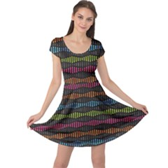 Black Neon Music Pattern Cap Sleeve Dress by CoolDesigns