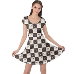Black Chessboard Made Of Black And White Cats Cap Sleeve Dress by CoolDesigns