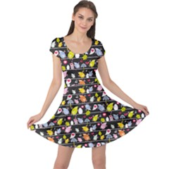 Colorful Pattern Of Colorful Birds On Wires In Night Cap Sleeve Dress by CoolDesigns