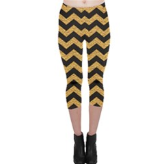 Yellow Black And Gold Pattern Modern Dark Capri Leggings by CoolDesigns