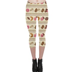 Brown Yummy Colorful Chocolate Cookies Donuts Macaroons Croissants Capri Leggings by CoolDesigns