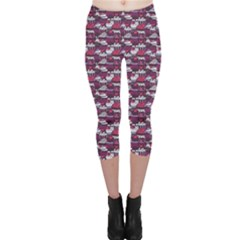 Purple Pattern With Sweet Cupcakes Capri Leggings by CoolDesigns
