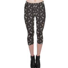 Black Pattern With Electric Guitar Silhouettes And Capri Leggings by CoolDesigns
