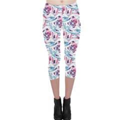 Colorful Purple Modern Colorful Floral Pattern Resembling Capri Leggings by CoolDesigns