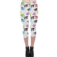 Colorful Wallpaper Pattern Cartoon Sheep Lamb Illustration Capri Leggings by CoolDesigns