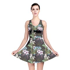 Black Beutiful Watercolor Pattern With Reptiles Chameleon Reversible Skater Dress by CoolDesigns