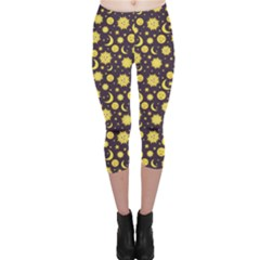 Green Sun Moon And Stars Celestial Pattern Capri Leggings by CoolDesigns