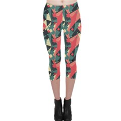 Red Retro Triangle Pattern With Blob Effect Capri Leggings by CoolDesigns
