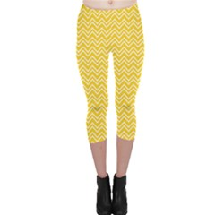 Yellow Yellow And White Chevron Pattern Capri Leggings by CoolDesigns