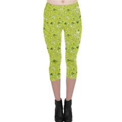 Green Microbes And Bacteria In Petri Dish Pattern Capri Leggings by CoolDesigns