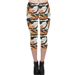 Brown Wild Tiger Stripes In A Pattern Capri Leggings by CoolDesigns